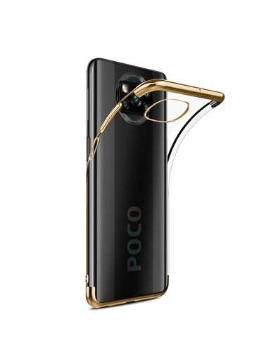 Microsonic Xiaomi Poco X3 Pro Kılıf Skyfall Transparent Clear Gold Altın